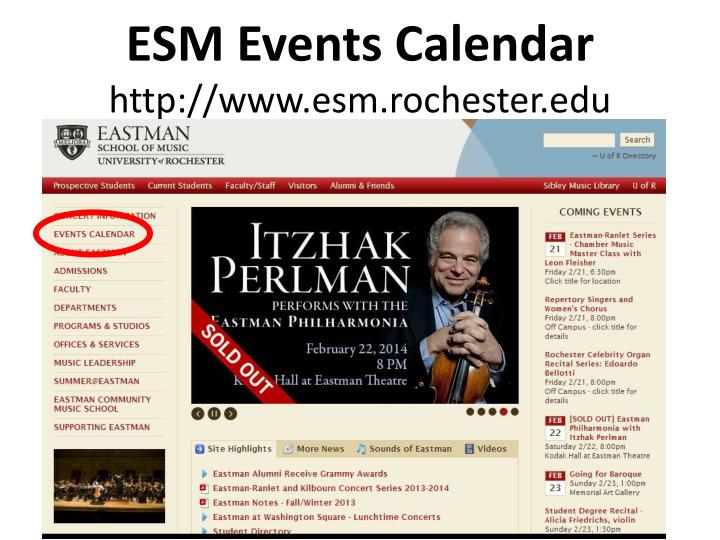 ESM Events Calendar