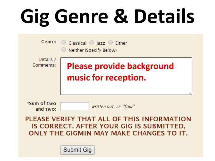 Gig Genre & Details