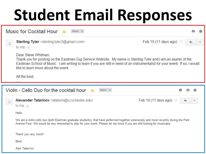 Student Email Responses