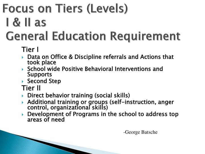 Focus on Tiers (Levels)