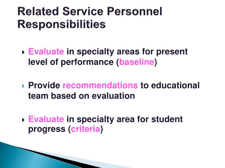 Related Service Personnel Responsibilities