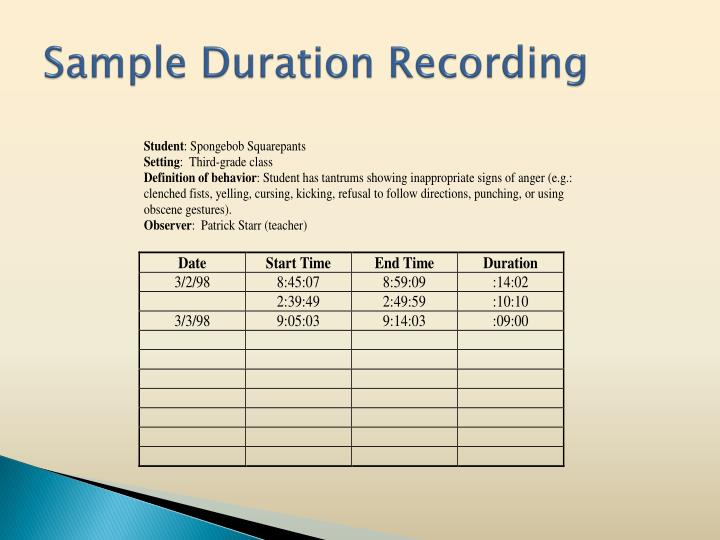 Sample Duration Recording