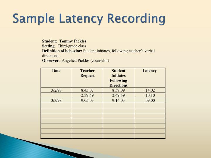 Sample Latency Recording