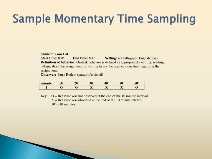 Sample Momentary Time Sampling