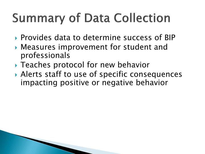 Summary of Data Collection
