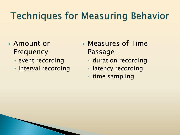 Techniques for Measuring Behavior
