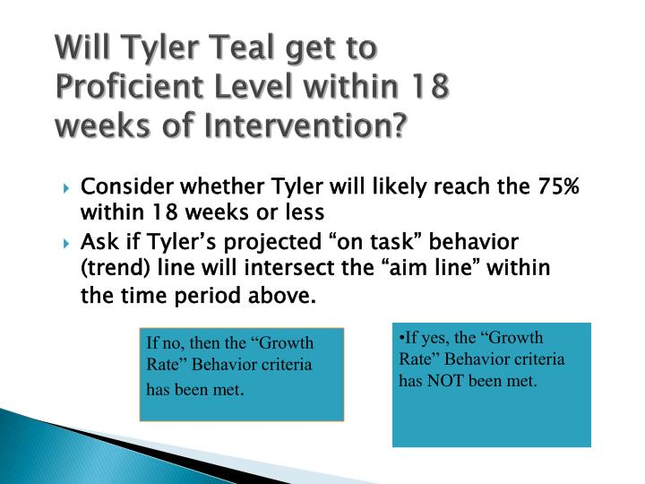 Will Tyler Teal get to Proficient Level within 18 weeks of Intervention?