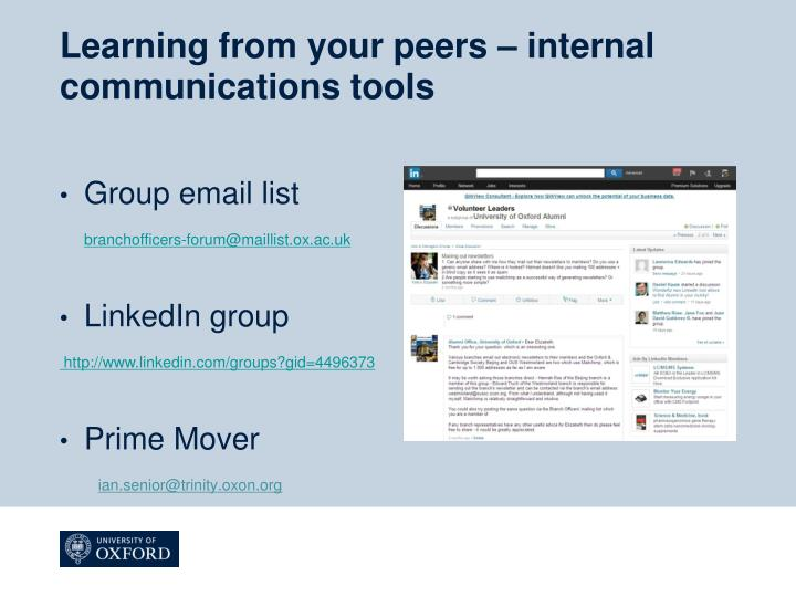 Learning from your peers – internal communications tools