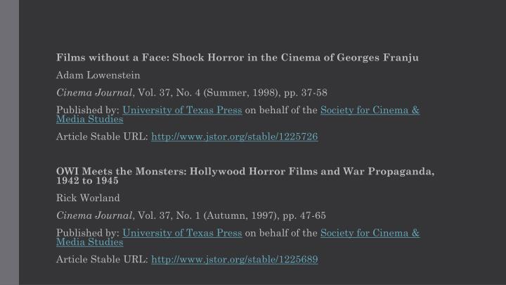 Films without a Face: Shock Horror in the Cinema of Georges