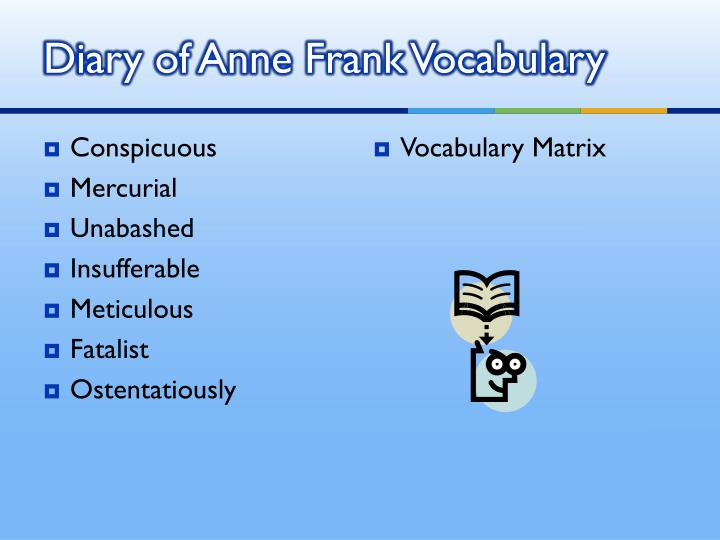 Diary of Anne Frank Vocabulary