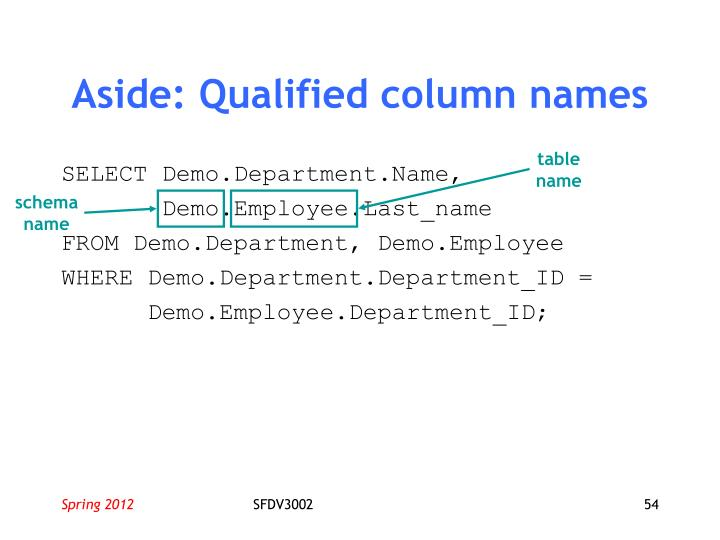 Aside: Qualified column names