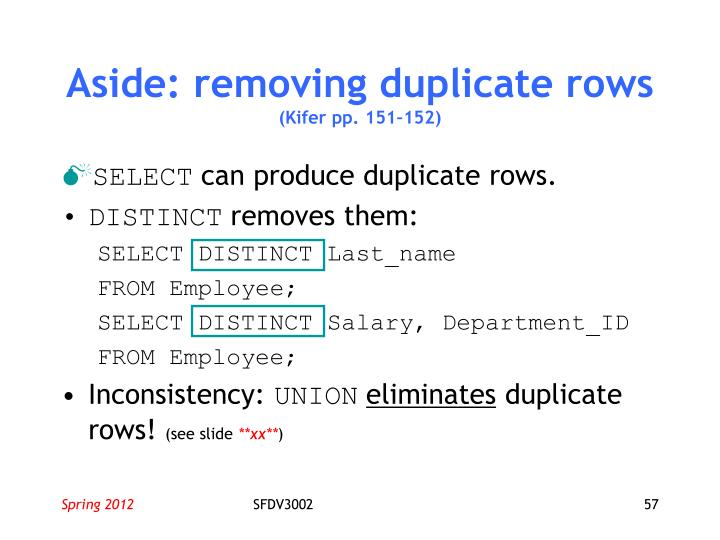Aside: removing duplicate rows