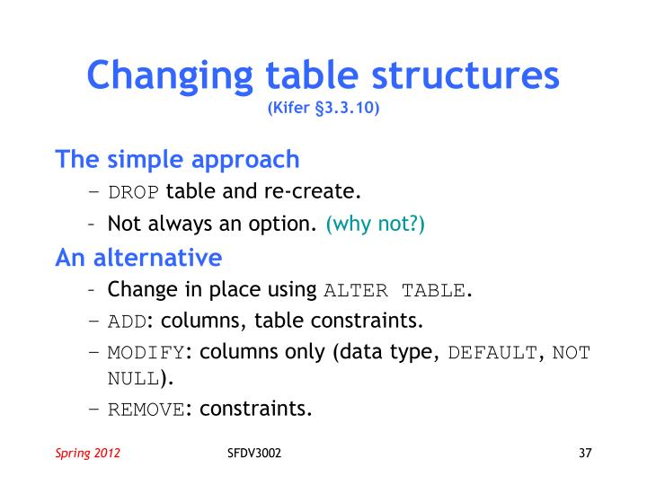Changing table structures