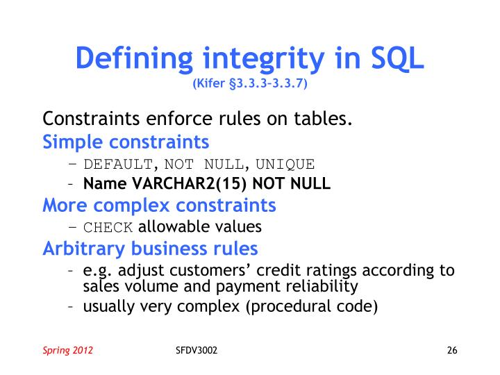 Defining integrity in SQL