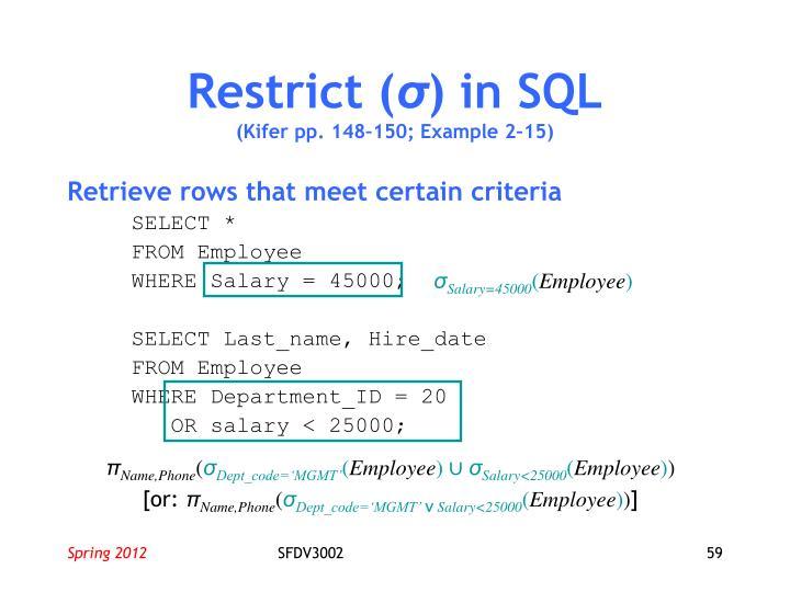 Restrict (