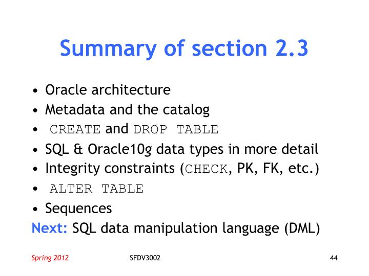 Summary of section 2.3