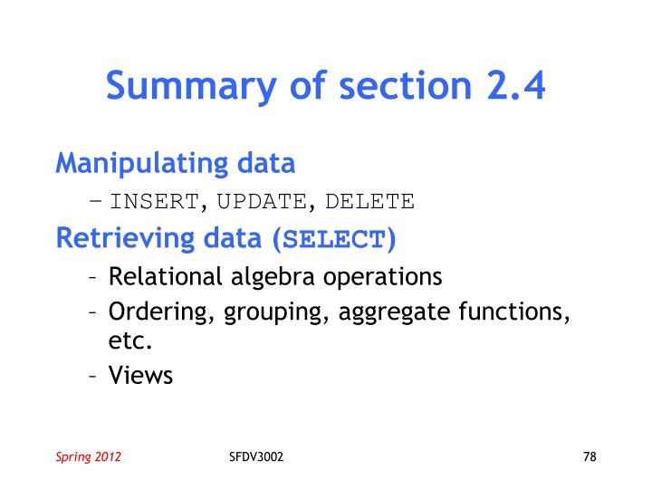 Summary of section 2.4