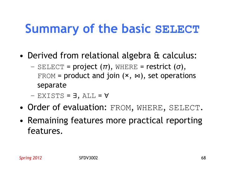 Summary of the basic