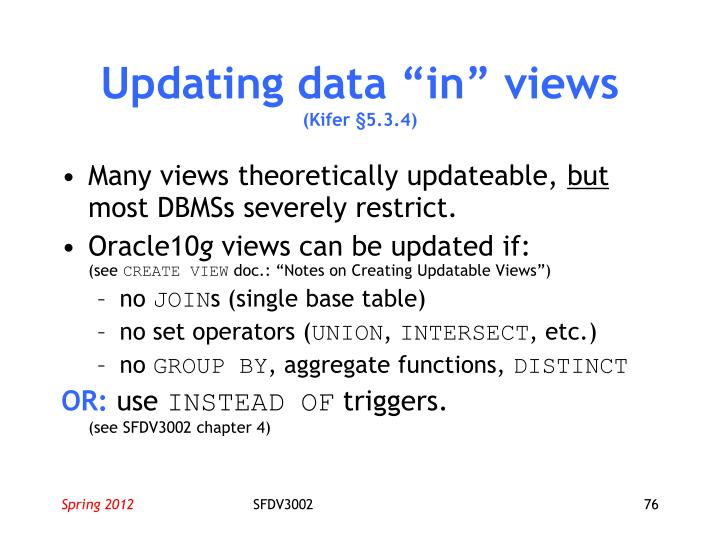 "Updating data ""in"" views"