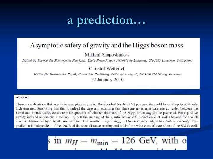 a prediction…