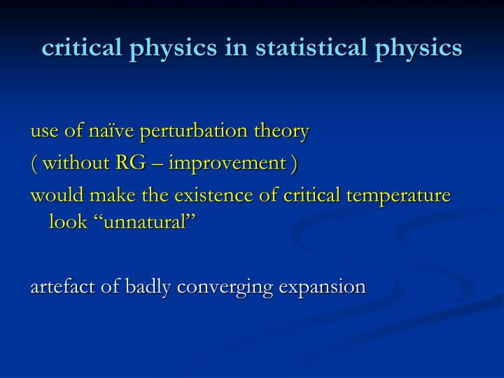 critical physics in statistical physics
