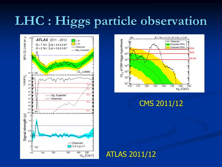 Lhc higgs particle observation