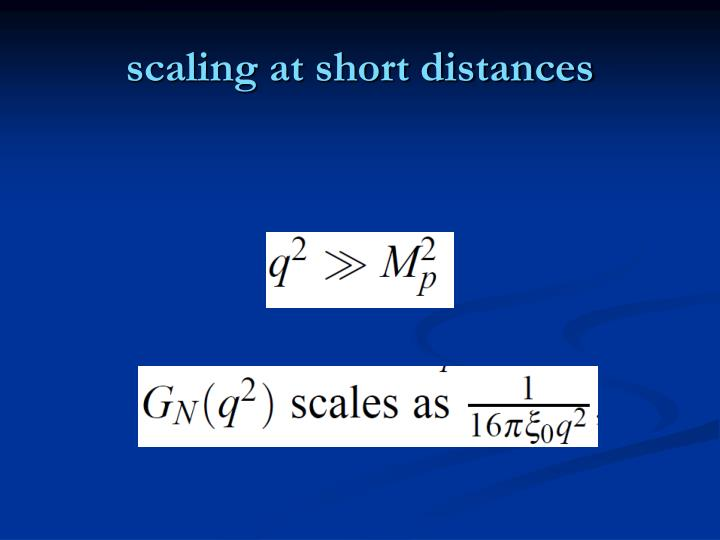 scaling at short distances