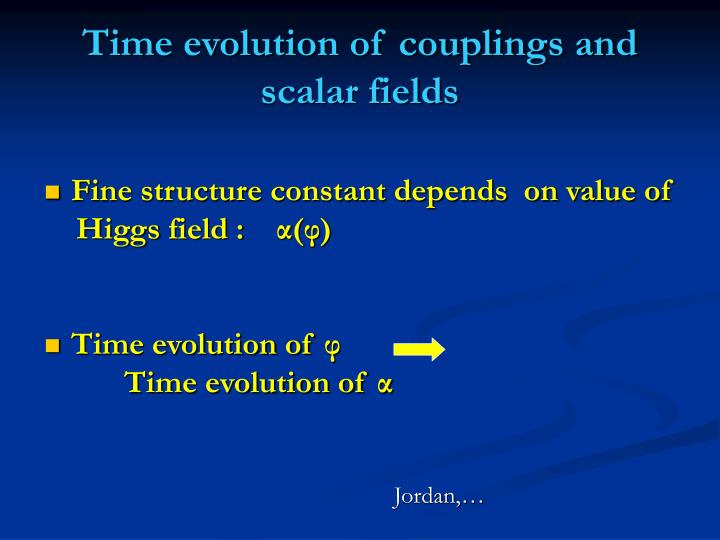 Time evolution of couplings and scalar fields