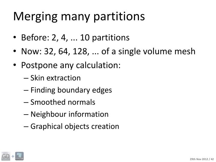 Merging many partitions