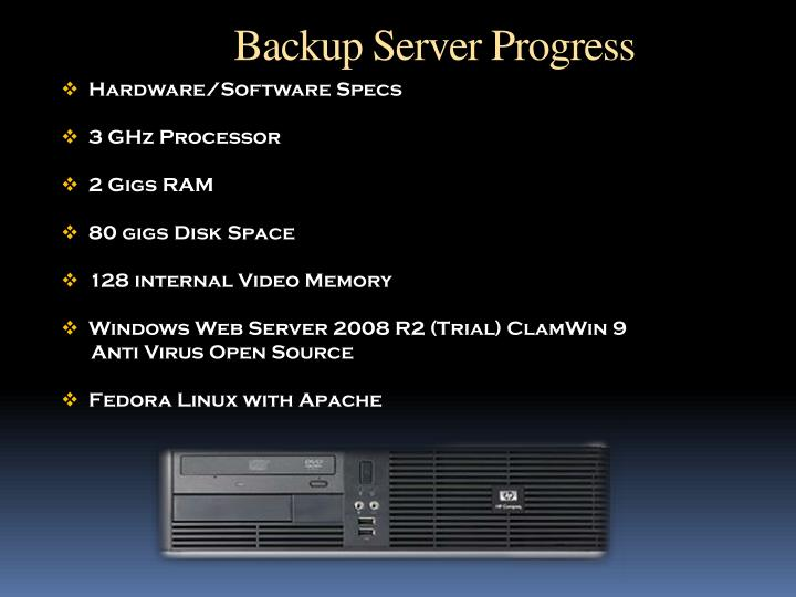 Backup Server Progress