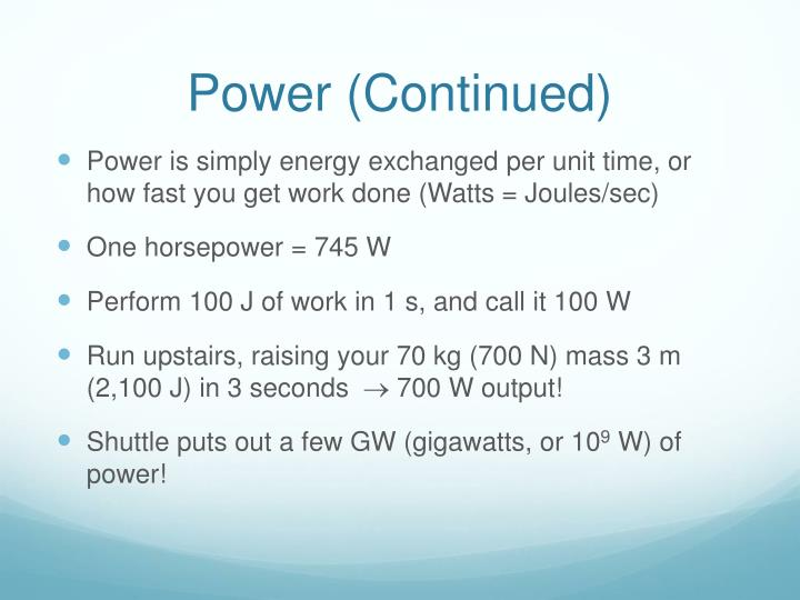 Power (Continued)