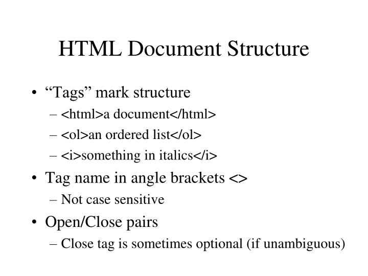 HTML Document Structure