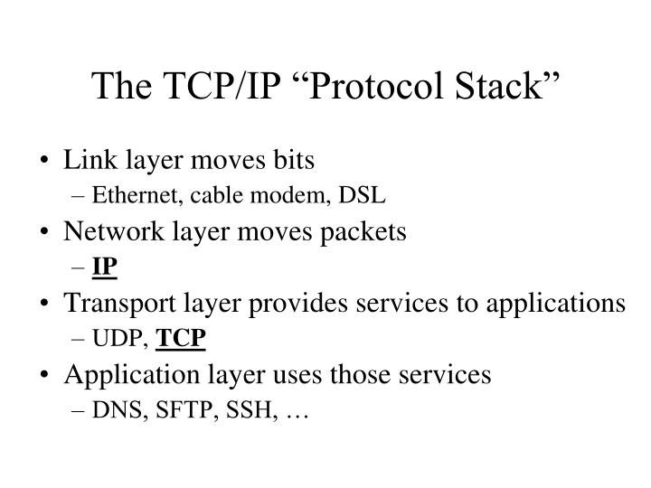 "The TCP/IP ""Protocol Stack"""