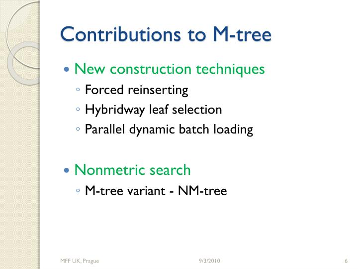 Contributions to M-tree