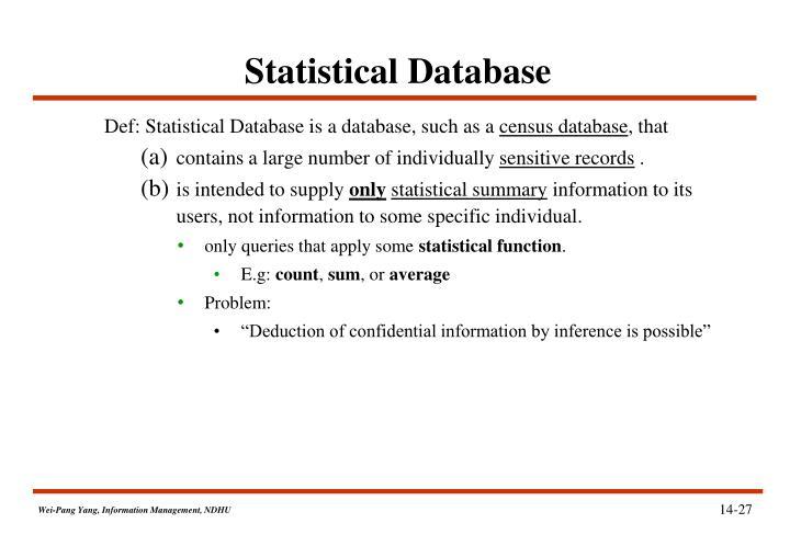 Statistical Database