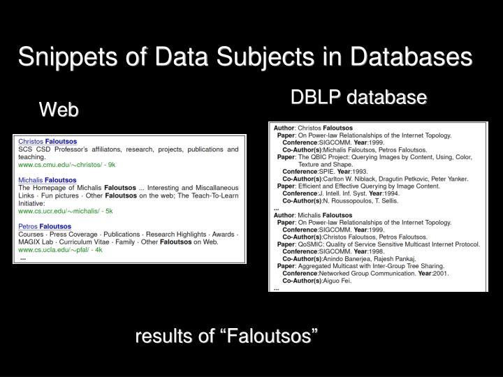 Snippets of Data Subjects in Databases