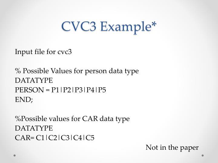 CVC3 Example*