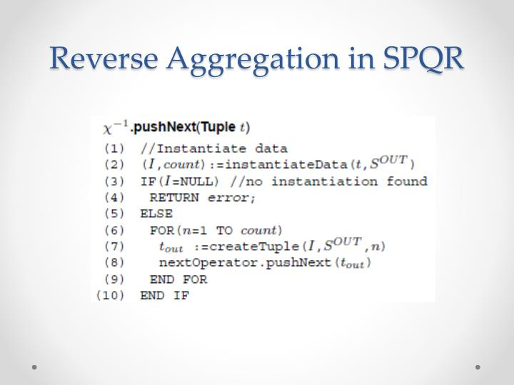 Reverse Aggregation in SPQR