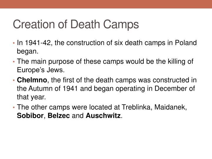 Creation of Death Camps