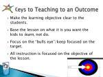keys to teaching to an outcome