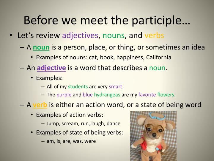 Before we meet the participle…