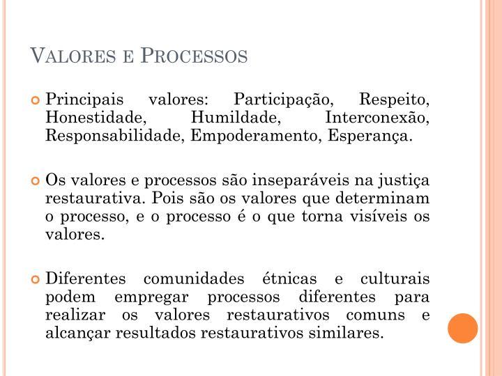 Valores e Processos
