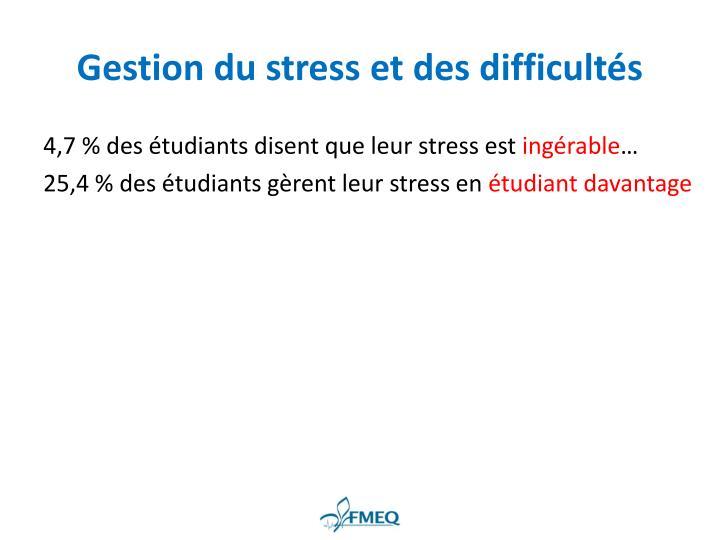 Gestion du stress et des difficultés