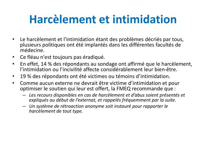 Harcèlement et intimidation