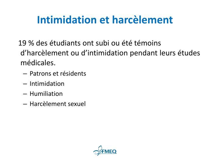 Intimidation et harcèlement