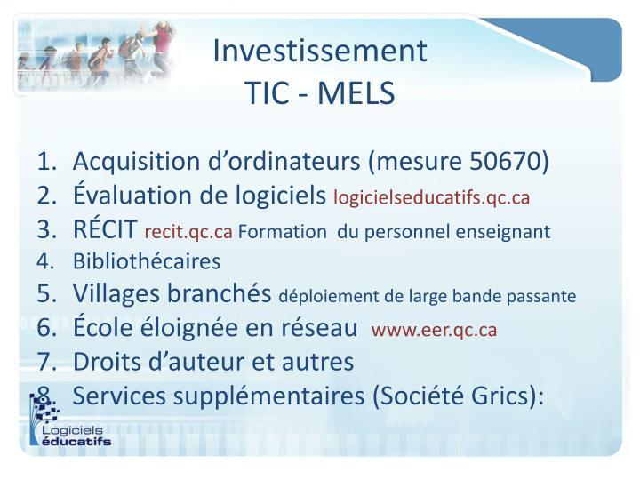 Investissement TIC -