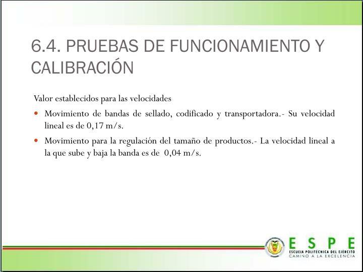 6.4. PRUEBAS DE FUNCIONAMIENTO Y CALIBRACIÓN
