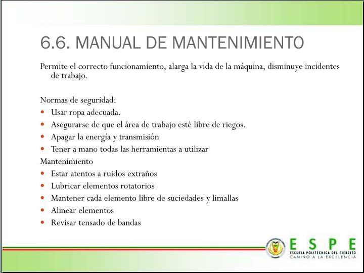 6.6. MANUAL DE MANTENIMIENTO