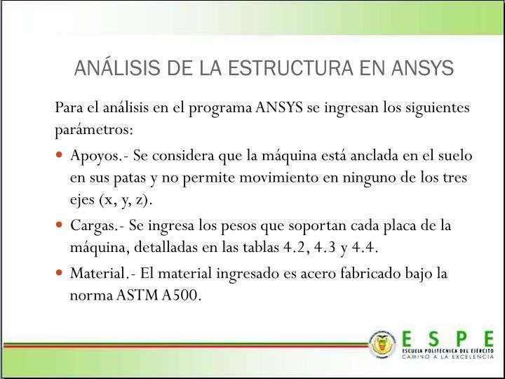 ANÁLISIS DE LA ESTRUCTURA EN ANSYS