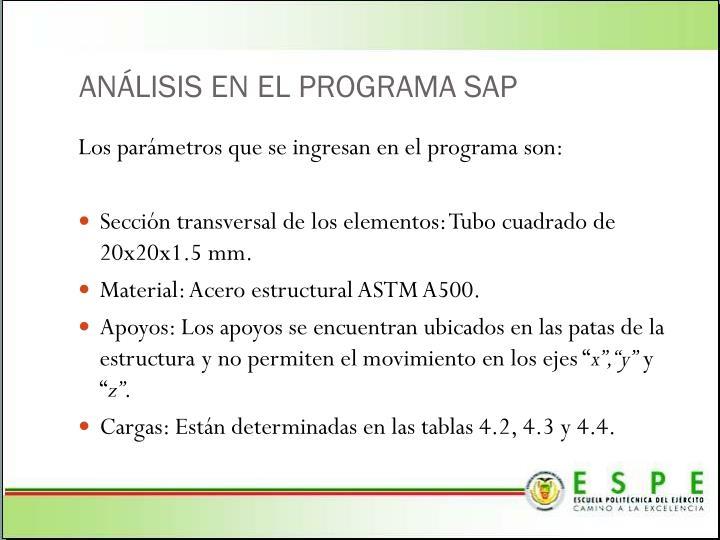 ANÁLISIS EN EL PROGRAMA SAP